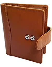 NUKAICHAU Brown Tan Single Fold Men's Leather Card Holder