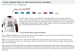 3 Most Popular Ways To Take Vocal Lessons Reviewed: An honest look at the pros and cons of the 3 most popular ways people take vocal lessons (English Edition) par [Cross, Ron]