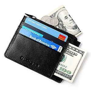 Portafoglio Uomo Piccolo Porta Carta di Credito del Cuoio Pelle Genuina con Protezione RFID/NFC 10 Tasche per Carta d'identità e Portamonete Portafogli Classico e Sottile Minimalista Lackingone