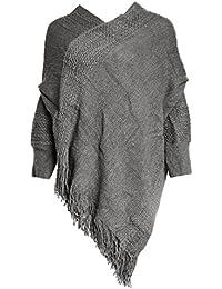 Glamexx24 Suéter de Poncho de Punto para Mujer Abrigo de Invierno Suéter de Las Mujeres Chaquetas