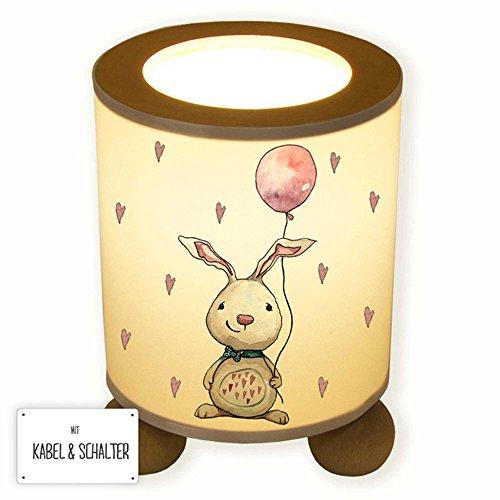 ilka parey wandtattoo-welt® Lampe Tischlampe Nachttischlampe Leselampe Schlummerlampe Hase Häschen mit Luftballon und Herzen tl068