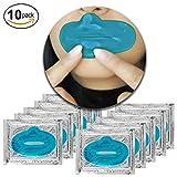Set Kit von 10 St. Blaue Algen Kollagen Gel Kristall Lippen Masken Lippenmasken Mund Lippenpads für Intensive Feuchtigkeitsspendend, Falten Feine Linien Entfernen, Hautstraffend und Reichhaltige Pflege