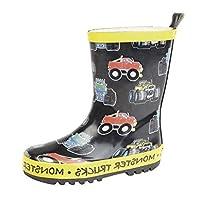 Boys Girls Childrens Kids Monster Truck Wellington Wellies Boots Size 4 - 2