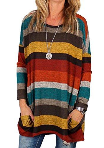Yidarton Femme T-Shirt Manches Longues Col Rond Top Large Coton Tunique Casual Haut Blouse Automne Hiver (Jaune, X-Large)