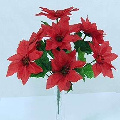 3 X Bunches of Poinsettia 30cm Artificial Poinsettia Bush Choice Of 3 Colours