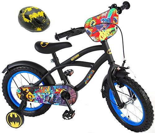Batman Kinderfahrrad 14 Zoll mit Rücktrittbremse + Kinder Fahrradhelm Deluxe Gr. 51-55 cm verstellbar im Sparset