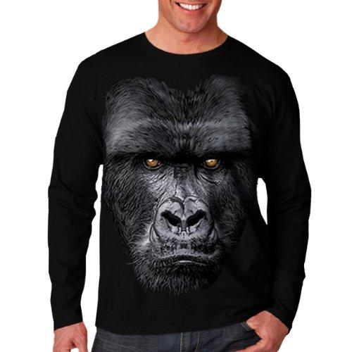 Wellcoda | majestätisch Gorilla Wilde Tier Herren NEU Schwarz Langarmshirts 2XL hier kaufen