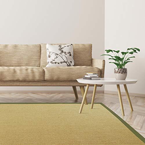 *Floordirekt Premium Sisal-Teppich Amazonas | Natur | Mit verschiedenfarbigen Bordüren | 9 Größen | Wohnzimmerteppich, Naturfaserteppich (Pistazie/Taupe, 140 x 200 cm)*
