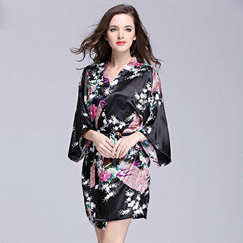 Handaxian Frauen Nachahmung Seide Roben Satin Brautkleid Robe große Blumen Bademantel Kurze Pyjamas 3 XL