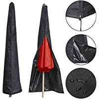 Essort Funda Protectora de Parasol Poliéster, Funda para Sombrilla de Playa, Rayos UV para Parasoles de Jardín, Aplicable al Paraguas de Jardín al Aire Libre de 1.8 a 3.5 m, 190 × 26 × 57cm, Negro