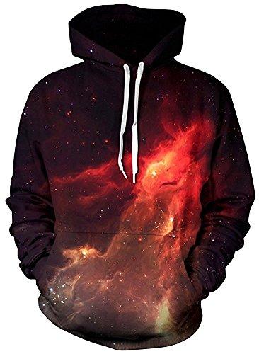 Nawoshow Unisex 3D Druck Kapuzenpullover Hoodie Sweatshirt Langarm Top Shirt Herbst Spaß Pullover für Männer und Frauen Flame