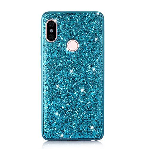 Karomenic Silikon Hülle kompatibel mit Xiaomi Redmi Note 5 Pro Glänzend Bling Strass Schutzhülle Männer Mädchen Ultra Slim 2 in 1 Weiche TPU Handyhülle Plastik Hard PC Tasche Bumper Case,Blau 5 Bling