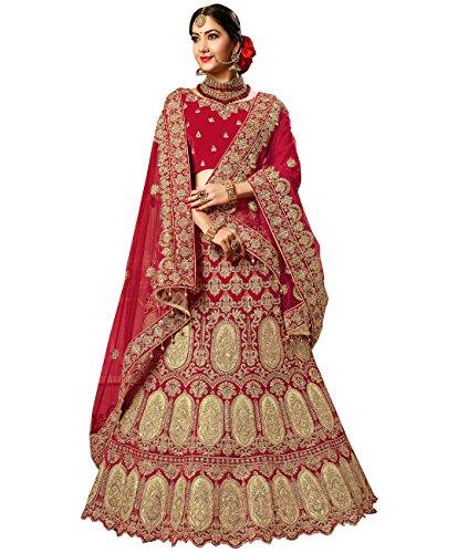 Indian Ethnicwear Bollywood Pakistani Wedding Red A-line Lehenga Semi-stitched-PRFM7400