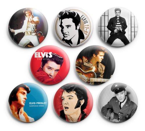 Elvis Presley Singer Broches Badges Bouton, 3,2 cm, 8 pcs, Nouveau
