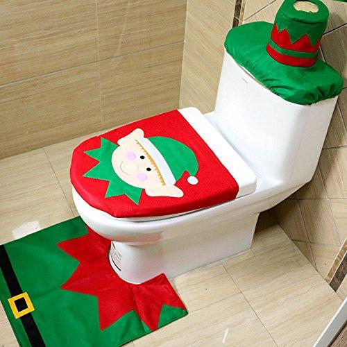 Showpower novità natale natale decorazione elfo gabinetto posto a sedere copertina, tappeto e tessuto scatola copertina bagno impostato