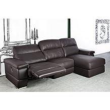 Sofá tres plazas con chaiselongue a la derecha tapizado en piel natural