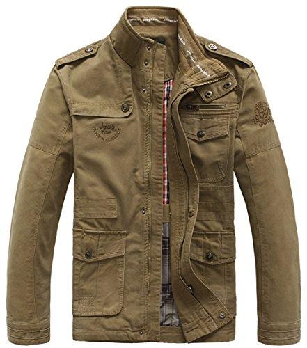 moxishop Herren 100% Baumwolle Mäntel Militärjacke Frühling Herbst Outdoor Bomber Feldjacke Cotton Jacket Outerwear XXS-4XL (Large,...