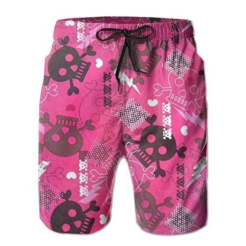 e Halloween Girly Punk Quick Dry Beach Board Shorts,L ()