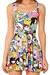 Women Girls O-Neck Waisted Slim-fit Dresses Printing Skirts by YiSherry