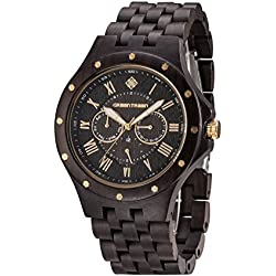 GREENTREEN 5ATM Water Resistant Men's Chronograph Watch With Black Sandalwood Case with 3 Time zone