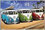 1art1 Autos Poster und Kunststoff-Rahmen - VW Bus, Bulli, Strand (91 x 61cm)