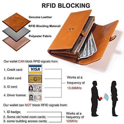 Damen Geldbörse, Gewachstes Echtleder, RFID Schutz - 4