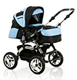 """BRAND NEW 2 in 1 pram/pushchair """"CITY DRIVER"""" in colour BLACK-ICE BLUE"""