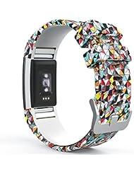 """Fitbit Charge 2 Bracelet, MoKo Watch Band de Remplacement ajustable en Silicone Souple pour Fitbit Charge 2 Bracelet d'activité et de suivi de la fréquence cardiaque 5.70""""-8.26"""" (145mm-210mm), diamants colorés"""