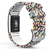 MoKo Fitbit Charge 2 Armband, [Muster Serie]Silikon Sportarmband Uhrenarmband Uhr Erstatzband für Charge 2 Smartwatch Zur Herzfrequenz und Fitnessaufzeichnung, Armbandlänge 145mm-210mm, Bunt Diamanten