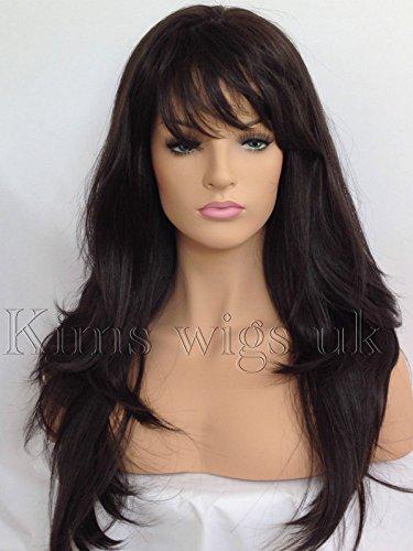 Kims Wigs #4 Perruque cheveux longs bruns et doux résistant à la chaleur pour femme