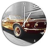 Ford Mustang Oldtimer schwarz weiß, Wanduhr Durchmesser 30cm mit weißen spitzen Zeigern und Ziffernblatt, Dekoartikel, Designuhr, Aluverbund sehr schön für Wohnzimmer, Kinderzimmer, Arbeitszimmer
