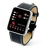 display08Herren-Armbanduhr, modisch, für Sport, binär, LED-Display, Kunstleder, Armband, schwarz