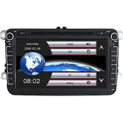 Yingly 8 Inch 2 Din Car Stereo for VW Golf Passat Skoda Tiguan Seat with Wince System DVD Player GPS Sat Nav Radio Bluetooth Support Parking Camera Steering Wheel Control 1080P Video 8 GB Map Card