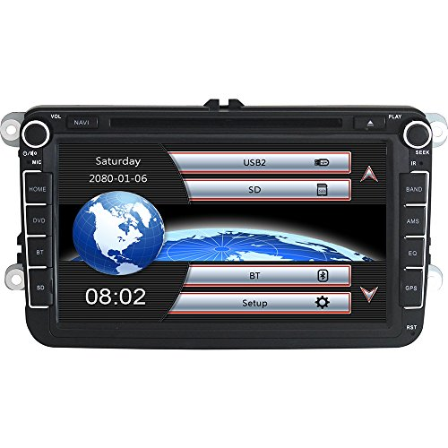 Yingly 8 Zoll 2 Din Autoradio für VW Golf Skoda Seat mit Wince System DVD Player GPS Navigation FM AM Radio Bluetooth USB SD unterstützt Park Kamera Lenkrad Bedienung 1080P Video 8GB Kartenmaterial (Navigation Dvd-player)