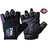 Womens Weightlifting Gloves in Black or Pink plus *FREE *Padded Figure 8 Lifting Straps for Powerlifting and Heavier Weight plus *FREE* Fox Fierce Fitness Workout for Women Ebook