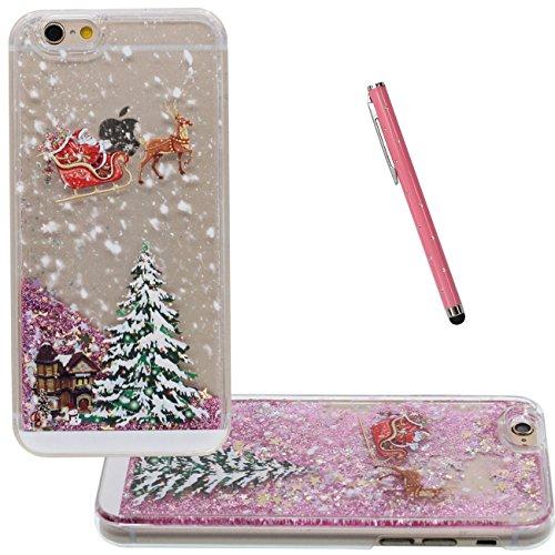iPhone 6S Plus Case Liquide Eau Coque, Transparente Dur Étui Protection avec Écoulement Étoiles Glitter Poudre Désign pour Apple iPhone 6 Plus 6S Plus Plus 5.5 inch, Noël Style Motif Case Avec 1 style rose