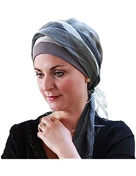 Pañuelo Tania de seda-viscosa gris con gorro interior en algodón Comfort ®