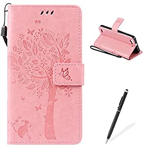 HUAWEI GR3 Case,Feeltech Embossed Tree Cat Butterfly Flower Pattern Design [Stylus Pen] for HUAWEI GR3 Cover,Elegant PU leather folio Wallet Case [Magnetic Closure] Fexible Soft Silicone Inner Rubber Stand Function Credit Card Slots Holder Money Pounch Slim Flip Protective Skin Cover Book Style With Hand Strap for HUAWEI GR3 - Pink
