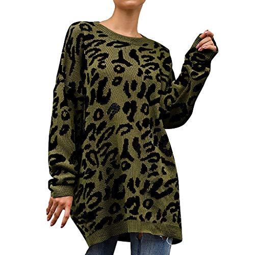 BURFLY Mode Damen Tops, Frauen Neue Gestrickte Leopard Druck Lange Hülsen Oansatz T-Shirt Pullover Oberseiten Bluse -