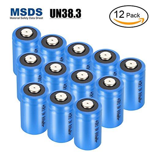 LYPULIGHT Batteries lithium CR123A Non-rechargeable 3V 1300mAh Piles cylindriques jetables de haute performance, avec protection PTC Résistant aux fuites pour Lampe de poche Appareil numérique de photo Caméscope Jouets Torche (lot de 12)