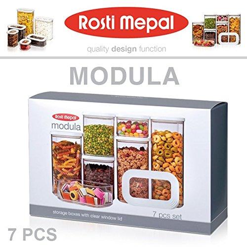 Rosti Mepal 106994830600 Set De Boîtes De Conservation Modula 7 Pcs, san/PE, Blanc, 36,5 x 15 x 22,2 cm