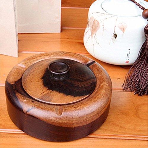 Holz Aschenbecher antiken chinesischen Ebenholz geschnitzt Massivholz Aschenbecher quadratisch rund mit Aschenbecher abgedeckt -