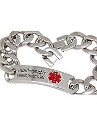Emergencia-pulsera Medi-pulsera con placa de acero inoxidable 24 cm de longitud