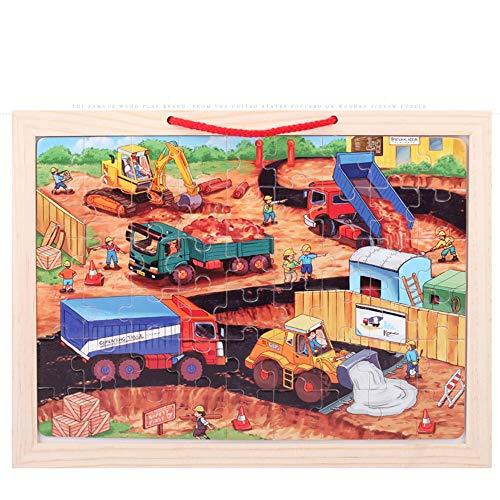 CX TECH Kinder Magnetic Wooden Puzzles Kind Reißbrett Familie Dress-Up Puzzle Kleinkind Spielzeug Früherziehung Beste Geburtstagsgeschenk für Jungen Mädchen,Engineeringcarpuzzle (Up Familie Dress)