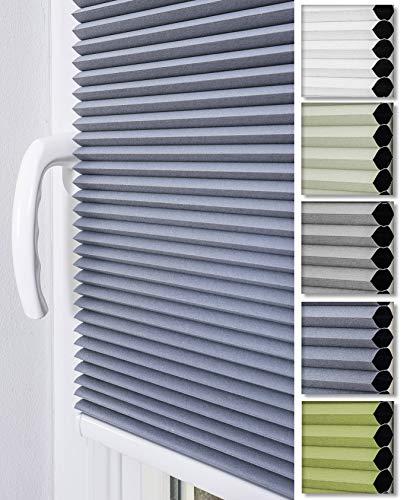 Home-Vision Doppelplissee Wabenplissee ohne Bohren mit Klemmträger / -fix (Weiß-Graphit, B90cm x H150cm) Zweifarbig Blickdicht Sonnenschutz Jalousie für Fenster & Tür Wabe