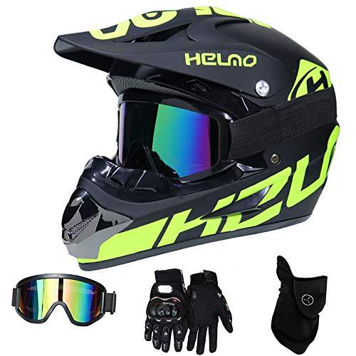 WanSheng Moto Motocross Moto Caschi e Guanti e Occhiali D.O.T Standard Bambini Quad Bike ATV Go Karting Casco (S, M, L, XL),Helmo,XL61~62CM