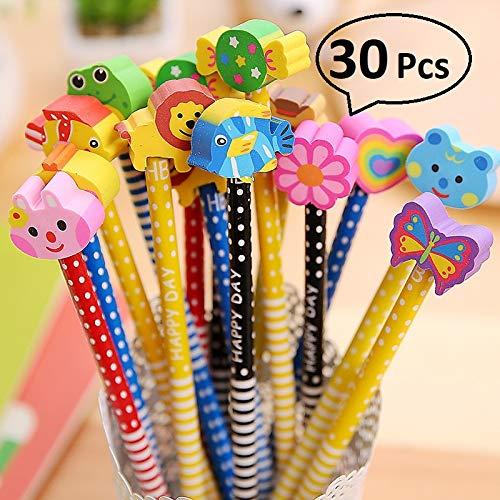 RHardware Lápices Infantiles con Borrador de Dibujos Multicolores 30 pcs, para Regalos Fiestas Cumpleaños
