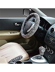 Hivel Hiver Leopard Peluche Couvre Volant Voiture Trois-pieces avec Housse de Volant a Manches Frein a Main Doux Chaud Anti Slip Vehicule Auto Car Steering Wheel Cover 38cm - Blanc