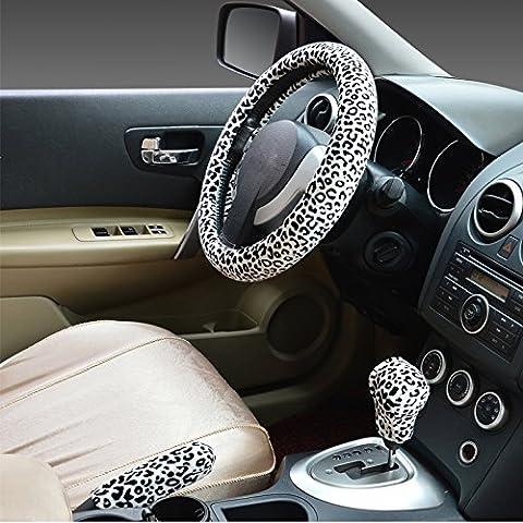 Hivel Hiver Leopard Peluche Couvre Volant Voiture Trois-pieces avec Housse de Volant a Manches Frein a Main Doux Chaud Anti Slip Vehicule Auto Car Steering Wheel Cover 38cm -