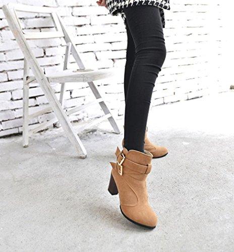 Stivali Donna Invernali, BeautyTop Autunno con tacco alto Stivaletti Boots Scarpe da donna Martin High Heels Marrone